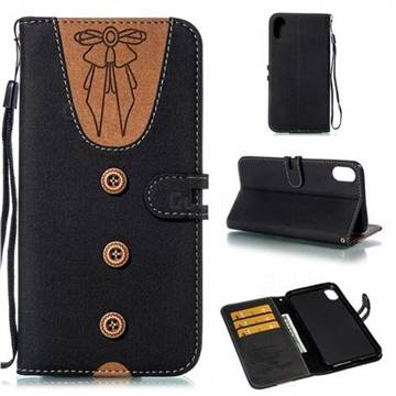 Ladies Bow Clothes Pattern Leather Wallet Phone Case for iPhone XS Max (6.5 inch) - Black