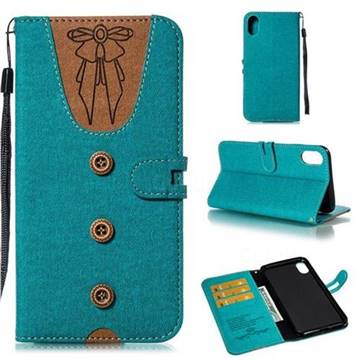 Ladies Bow Clothes Pattern Leather Wallet Phone Case for iPhone XS Max (6.5 inch) - Green