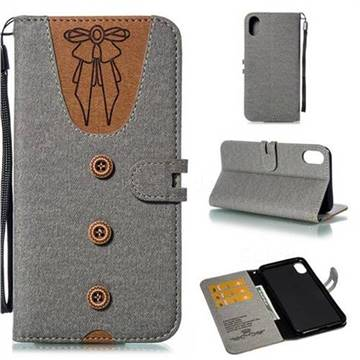 Ladies Bow Clothes Pattern Leather Wallet Phone Case for iPhone XS Max (6.5 inch) - Gray