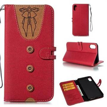 Ladies Bow Clothes Pattern Leather Wallet Phone Case for iPhone XS Max (6.5 inch) - Red