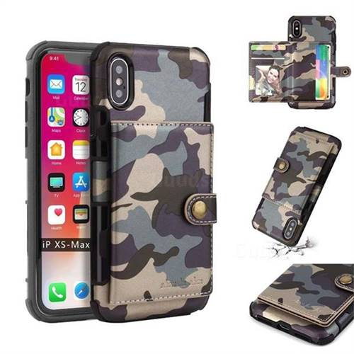 Camouflage Multi-function Leather Phone Case for iPhone XS Max (6.5 inch) - Gray