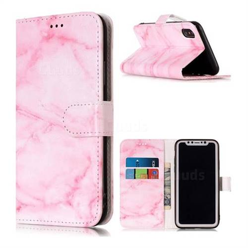 Pink Marble PU Leather Wallet Case for iPhone XS Max (6.5 inch)