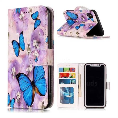 Purple Flowers Butterfly 3D Relief Oil PU Leather Wallet Case for iPhone XS Max (6.5 inch)