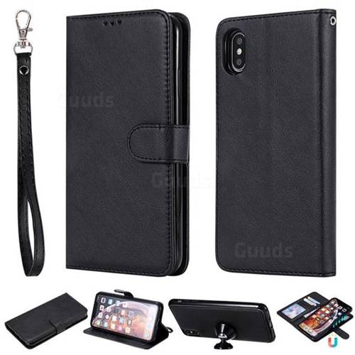 Retro Greek Detachable Magnetic PU Leather Wallet Phone Case for iPhone XS Max (6.5 inch) - Black