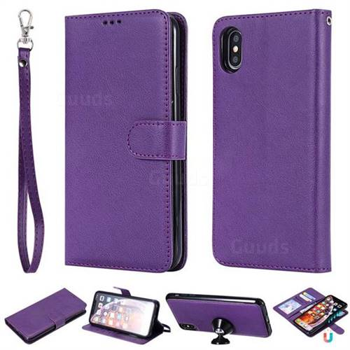 Retro Greek Detachable Magnetic PU Leather Wallet Phone Case for iPhone XS Max (6.5 inch) - Purple