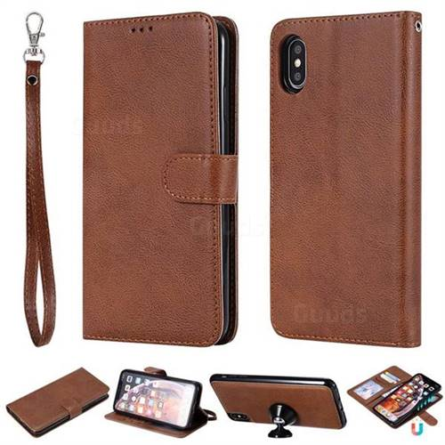 Retro Greek Detachable Magnetic PU Leather Wallet Phone Case for iPhone XS Max (6.5 inch) - Brown