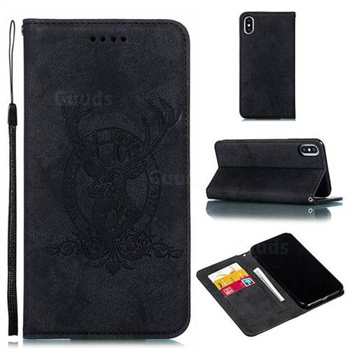 Retro Intricate Embossing Elk Seal Leather Wallet Case for iPhone XS Max (6.5 inch) - Black