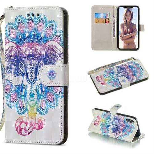 Colorful Elephant 3D Painted Leather Wallet Phone Case for iPhone XS Max (6.5 inch)