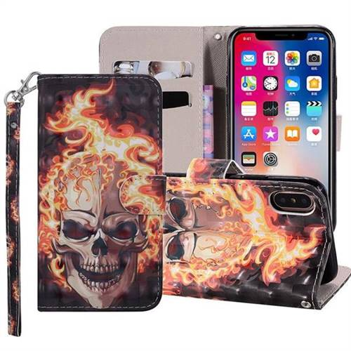 Flame Skull 3D Painted Leather Phone Wallet Case Cover for iPhone XS Max (6.5 inch)