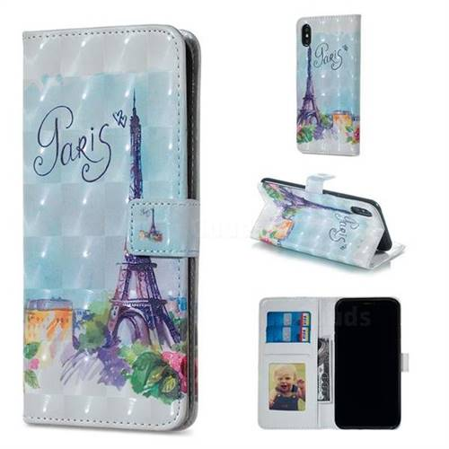 Paris Tower 3D Painted Leather Phone Wallet Case for iPhone XS Max (6.5 inch)