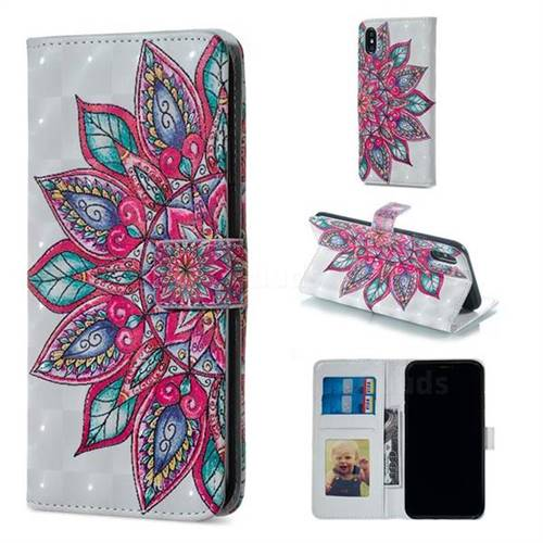 Mandara Flower 3D Painted Leather Phone Wallet Case for iPhone XS Max (6.5 inch)