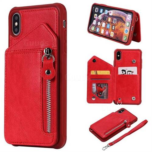 Classic Luxury Buckle Zipper Anti-fall Leather Phone Back Cover for iPhone XS Max (6.5 inch) - Red