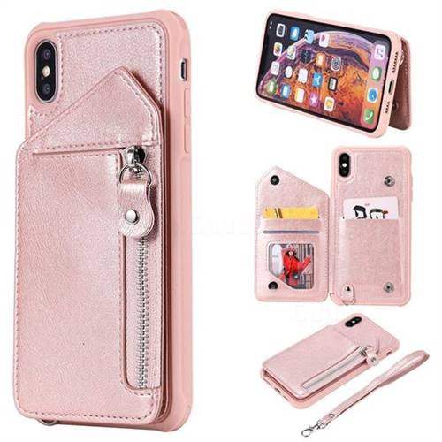 Classic Luxury Buckle Zipper Anti-fall Leather Phone Back Cover for iPhone XS Max (6.5 inch) - Pink