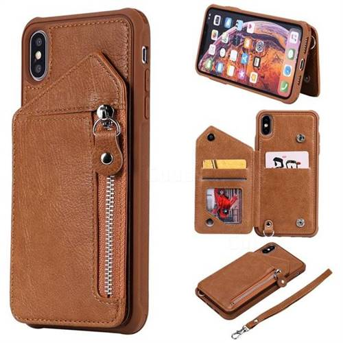 Classic Luxury Buckle Zipper Anti-fall Leather Phone Back Cover for iPhone XS Max (6.5 inch) - Brown