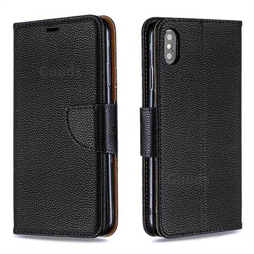 Classic Luxury Litchi Leather Phone Wallet Case for iPhone XS Max (6.5 inch) - Black