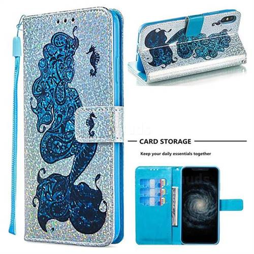 Mermaid Seahorse Sequins Painted Leather Wallet Case for iPhone XS Max (6.5 inch)
