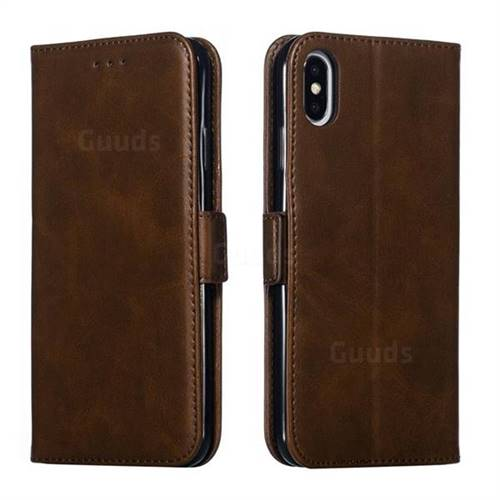 Retro Classic Calf Pattern Leather Wallet Phone Case for iPhone XS Max (6.5 inch) - Brown