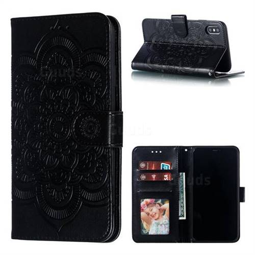 Intricate Embossing Datura Solar Leather Wallet Case for iPhone XS Max (6.5 inch) - Black