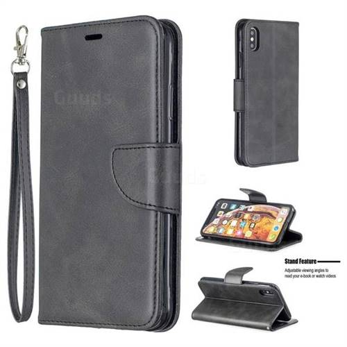 Classic Sheepskin PU Leather Phone Wallet Case for iPhone XS Max (6.5 inch) - Black