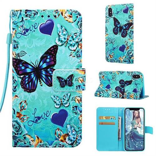 Love Butterfly Matte Leather Wallet Phone Case for iPhone XS Max (6.5 inch)