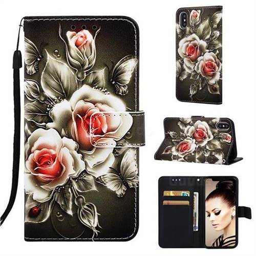 Black Rose Matte Leather Wallet Phone Case for iPhone XS Max (6.5 inch)