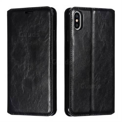 Retro Slim Magnetic Crazy Horse PU Leather Wallet Case for iPhone XS Max (6.5 inch) - Black