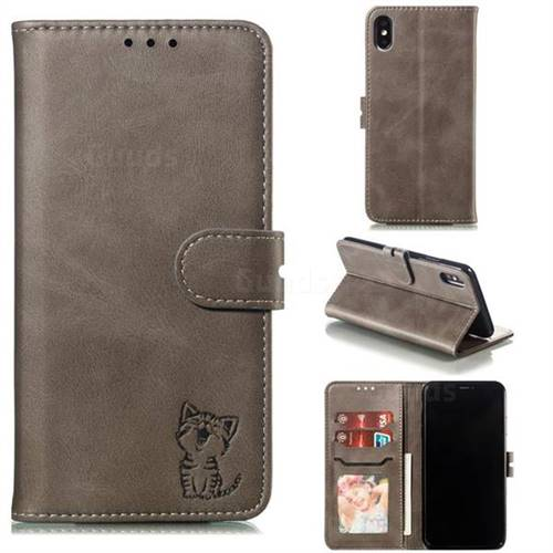Embossing Happy Cat Leather Wallet Case for iPhone XS Max (6.5 inch) - Gray