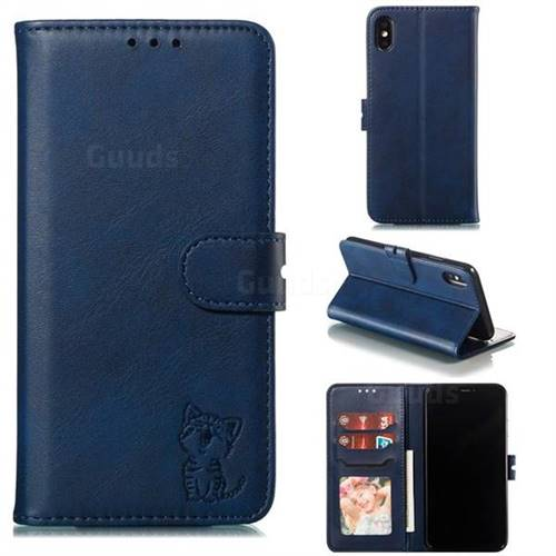 Embossing Happy Cat Leather Wallet Case for iPhone XS Max (6.5 inch) - Blue