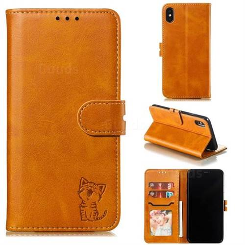 Embossing Happy Cat Leather Wallet Case for iPhone XS Max (6.5 inch) - Yellow