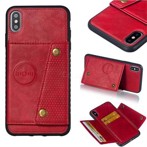 Retro Multifunction Card Slots Stand Leather Coated Phone Back Cover for iPhone XS Max (6.5 inch) - Red