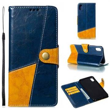 Retro Magnetic Stitching Wallet Flip Cover for iPhone XS Max (6.5 inch) - Blue
