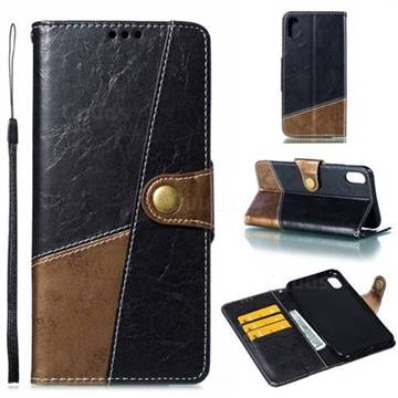 Retro Magnetic Stitching Wallet Flip Cover for iPhone XS Max (6.5 inch) - Dark Gray