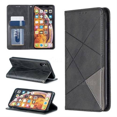 Prismatic Slim Magnetic Sucking Stitching Wallet Flip Cover for iPhone XS Max (6.5 inch) - Black