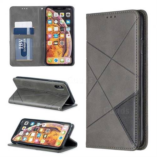Prismatic Slim Magnetic Sucking Stitching Wallet Flip Cover for iPhone XS Max (6.5 inch) - Gray