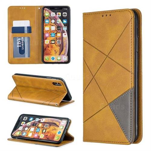 Prismatic Slim Magnetic Sucking Stitching Wallet Flip Cover for iPhone XS Max (6.5 inch) - Yellow