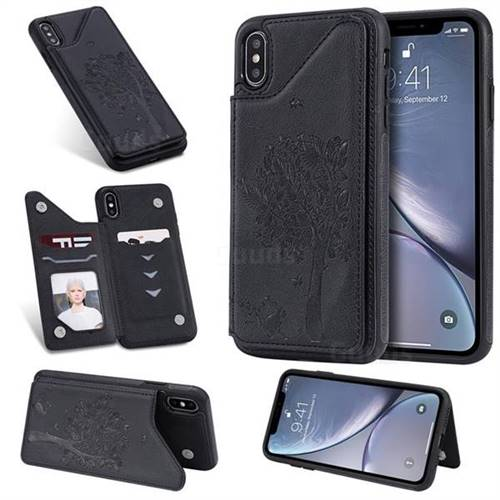Luxury Tree and Cat Multifunction Magnetic Card Slots Stand Leather Phone Back Cover for iPhone XS Max (6.5 inch) - Black