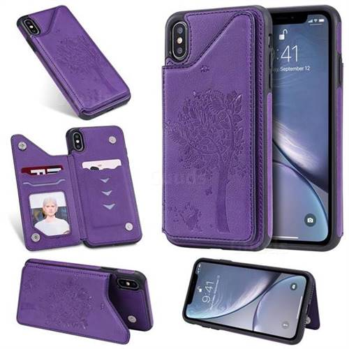 Luxury Tree and Cat Multifunction Magnetic Card Slots Stand Leather Phone Back Cover for iPhone XS Max (6.5 inch) - Purple