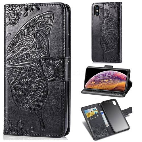 Embossing Mandala Flower Butterfly Leather Wallet Case for iPhone XS Max (6.5 inch) - Black