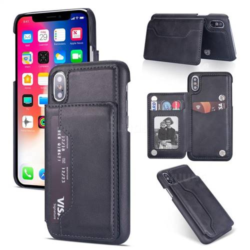 Luxury Magnetic Double Buckle Leather Phone Case for iPhone XS Max (6.5 inch) - Black