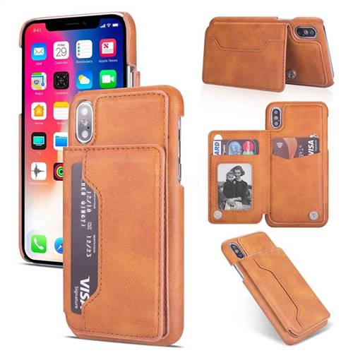Luxury Magnetic Double Buckle Leather Phone Case for iPhone XS Max (6.5 inch) - Brown