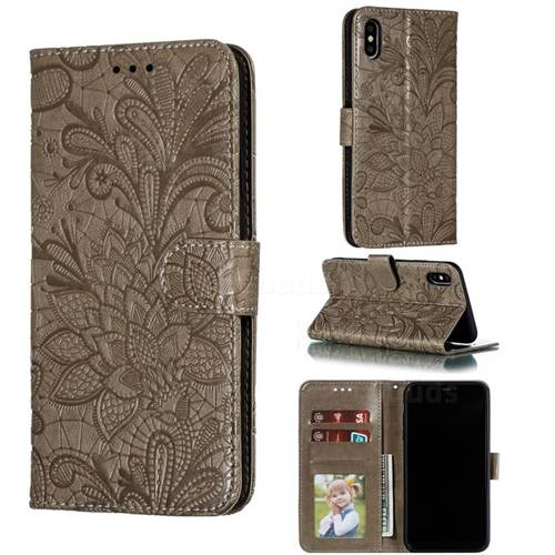 Intricate Embossing Lace Jasmine Flower Leather Wallet Case for iPhone XS Max (6.5 inch) - Gray