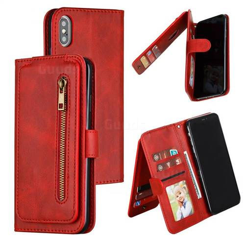 Multifunction 9 Cards Leather Zipper Wallet Phone Case for iPhone XS Max (6.5 inch) - Red