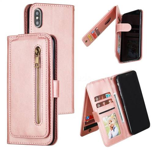 Multifunction 9 Cards Leather Zipper Wallet Phone Case for iPhone XS Max (6.5 inch) - Rose Gold