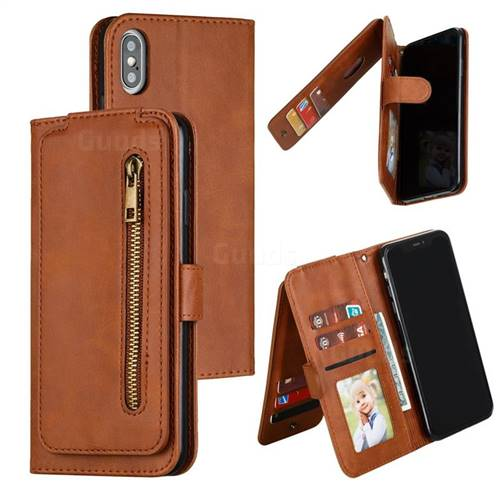 Multifunction 9 Cards Leather Zipper Wallet Phone Case for iPhone XS Max (6.5 inch) - Brown