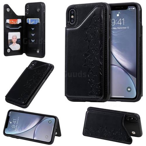 Yikatu Luxury Cute Cats Multifunction Magnetic Card Slots Stand Leather Back Cover for iPhone XS Max (6.5 inch) - Black