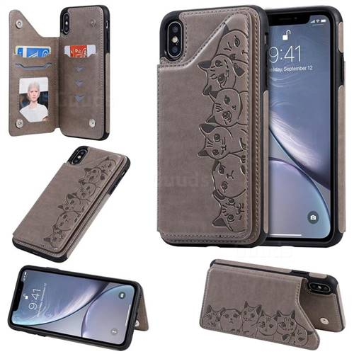Yikatu Luxury Cute Cats Multifunction Magnetic Card Slots Stand Leather Back Cover for iPhone XS Max (6.5 inch) - Gray