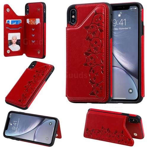 Yikatu Luxury Cute Cats Multifunction Magnetic Card Slots Stand Leather Back Cover for iPhone XS Max (6.5 inch) - Red