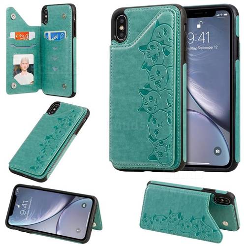 Yikatu Luxury Cute Cats Multifunction Magnetic Card Slots Stand Leather Back Cover for iPhone XS Max (6.5 inch) - Green