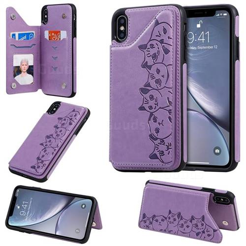 Yikatu Luxury Cute Cats Multifunction Magnetic Card Slots Stand Leather Back Cover for iPhone XS Max (6.5 inch) - Purple
