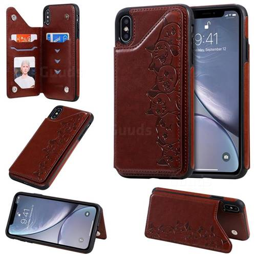 Yikatu Luxury Cute Cats Multifunction Magnetic Card Slots Stand Leather Back Cover for iPhone XS Max (6.5 inch) - Brown